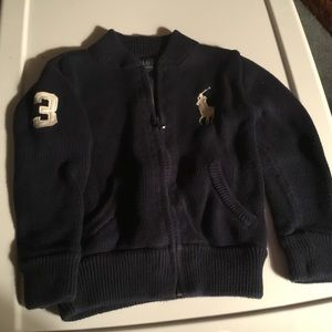 Polo Navy Blue Zip Up Sweater. Front Pockets 3T.